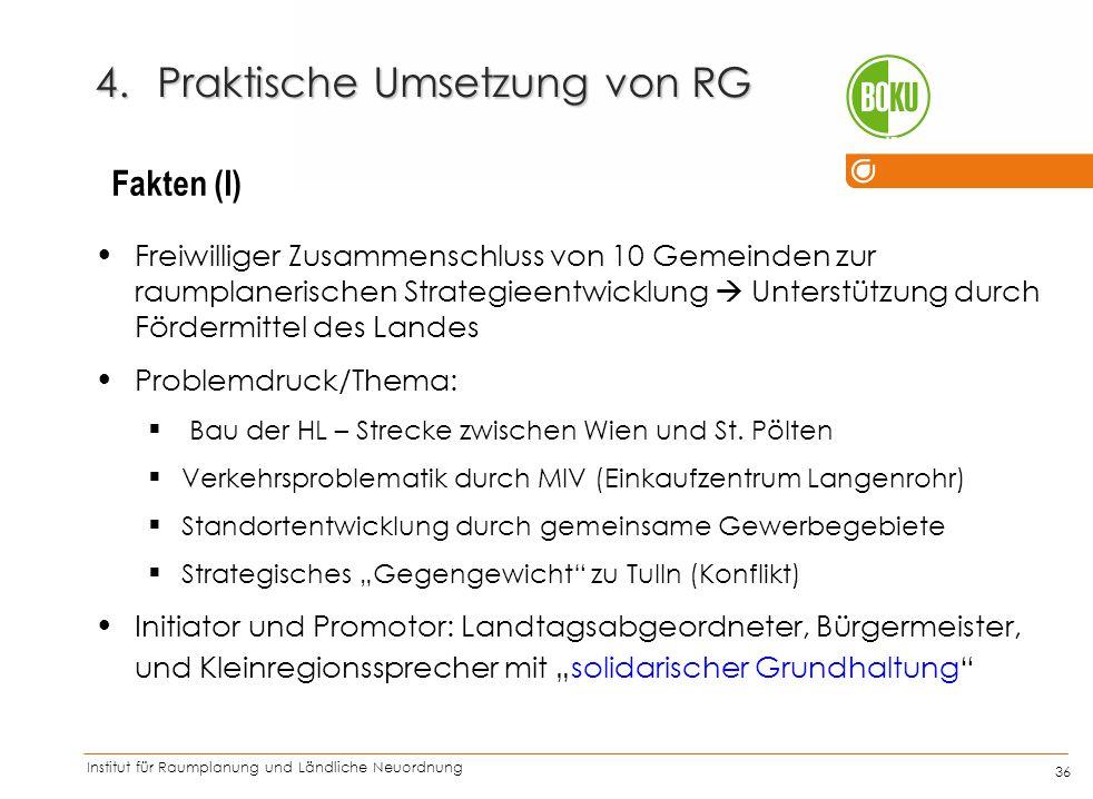 Institut für Raumplanung und Ländliche Neuordnung IRUB 36 Freiwilliger Zusammenschluss von 10 Gemeinden zur raumplanerischen Strategieentwicklung  Un