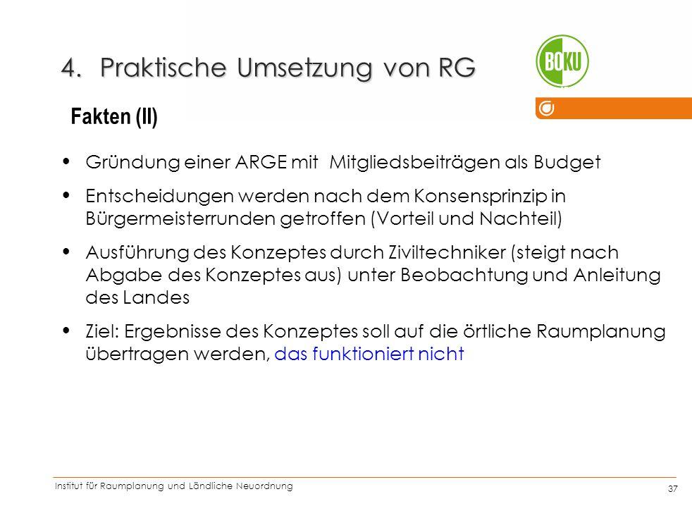 Institut für Raumplanung und Ländliche Neuordnung IRUB 37 4.Praktische Umsetzung von RG Gründung einer ARGE mit Mitgliedsbeiträgen als Budget Entschei