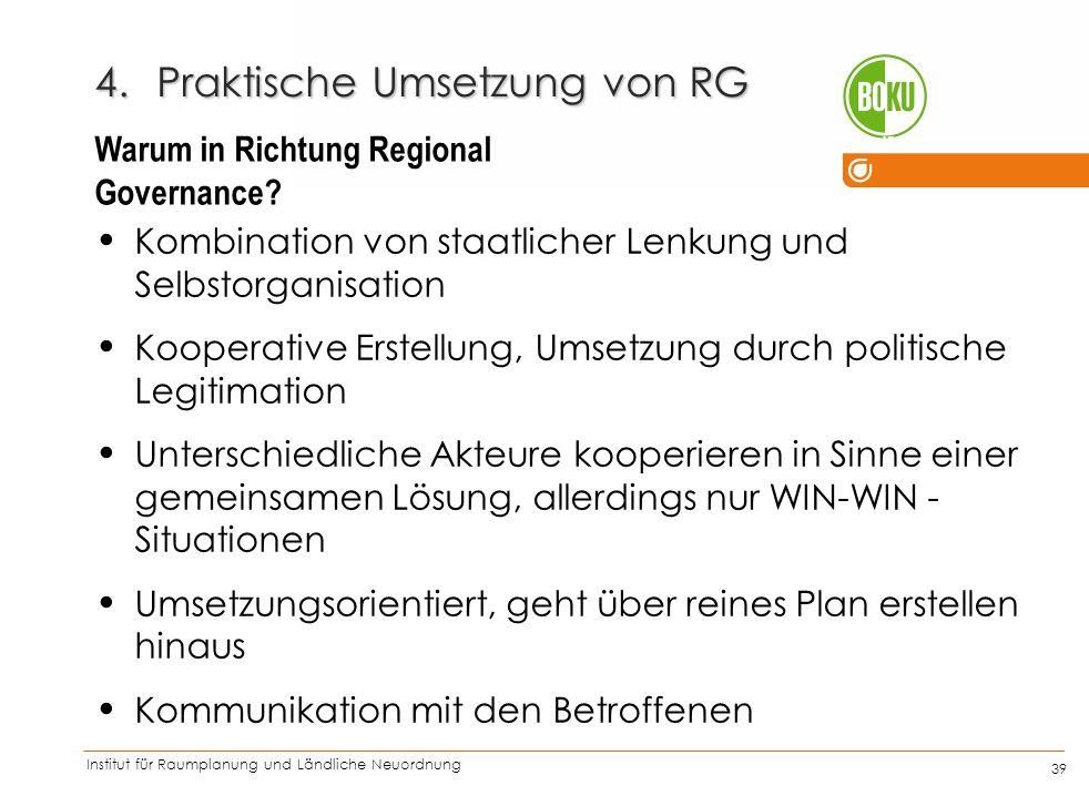 Institut für Raumplanung und Ländliche Neuordnung IRUB 39 Kombination von staatlicher Lenkung und Selbstorganisation Kooperative Erstellung, Umsetzung