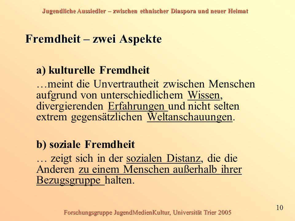 Jugendliche Aussiedler – zwischen ethnischer Diaspora und neuer Heimat 10 Forschungsgruppe JugendMedienKultur, Universität Trier 2005 Fremdheit – zwei