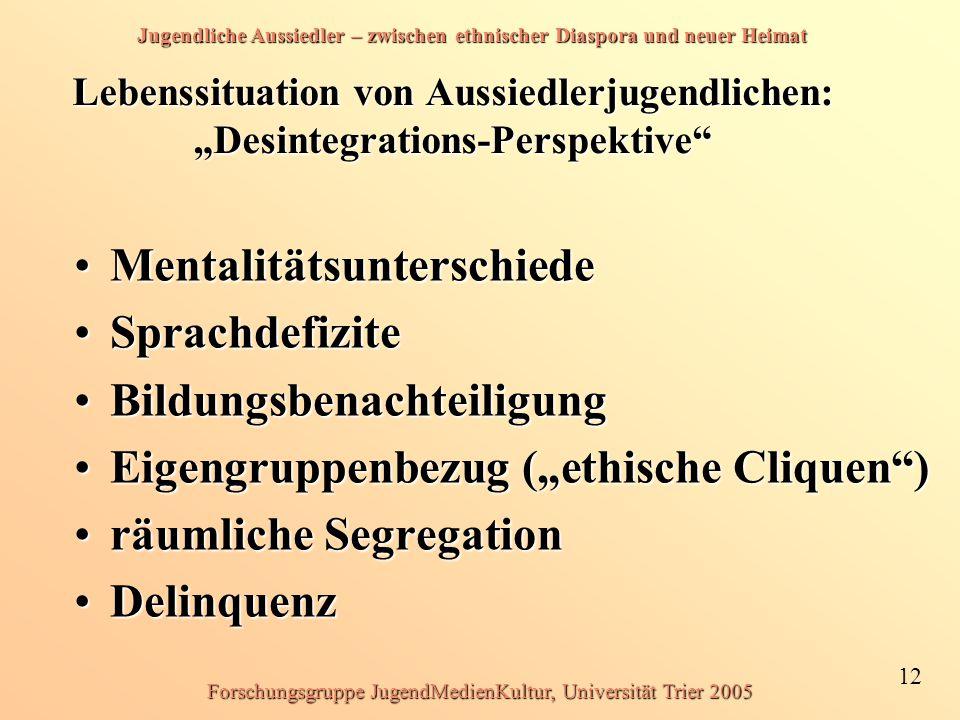 Jugendliche Aussiedler – zwischen ethnischer Diaspora und neuer Heimat 12 Forschungsgruppe JugendMedienKultur, Universität Trier 2005 Lebenssituation