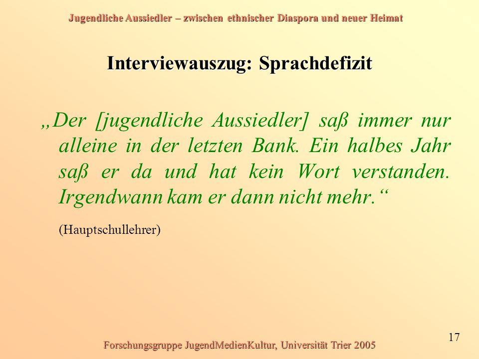 Jugendliche Aussiedler – zwischen ethnischer Diaspora und neuer Heimat 17 Forschungsgruppe JugendMedienKultur, Universität Trier 2005 Interviewauszug: