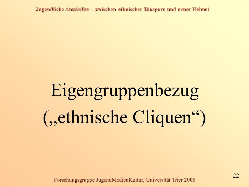 """Jugendliche Aussiedler – zwischen ethnischer Diaspora und neuer Heimat 22 Forschungsgruppe JugendMedienKultur, Universität Trier 2005 Eigengruppenbezug (""""ethnische Cliquen )"""
