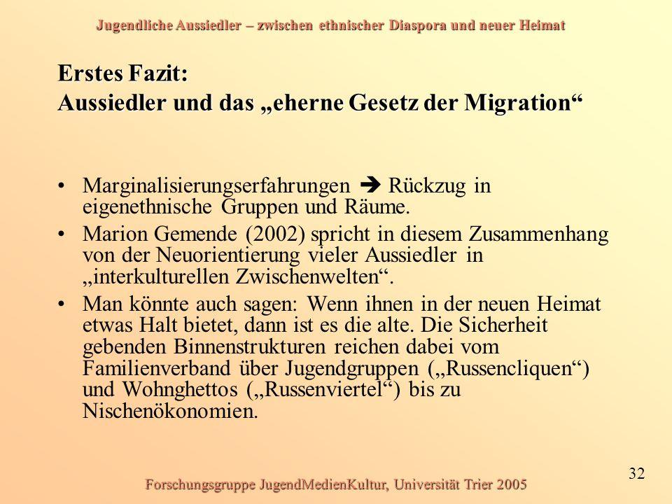 Jugendliche Aussiedler – zwischen ethnischer Diaspora und neuer Heimat 32 Forschungsgruppe JugendMedienKultur, Universität Trier 2005 Erstes Fazit: Au