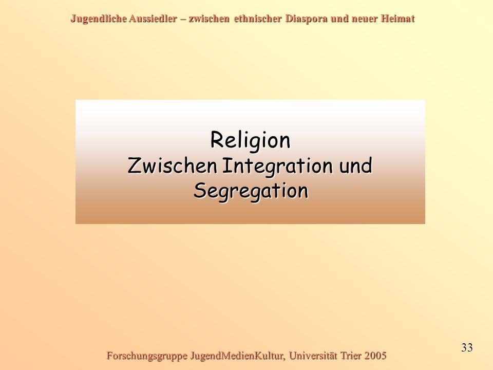 Jugendliche Aussiedler – zwischen ethnischer Diaspora und neuer Heimat 33 Forschungsgruppe JugendMedienKultur, Universität Trier 2005 Religion Zwischen Integration und Segregation
