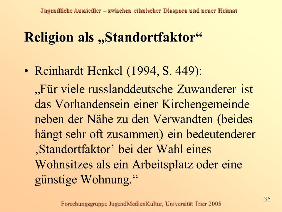 """Jugendliche Aussiedler – zwischen ethnischer Diaspora und neuer Heimat 35 Forschungsgruppe JugendMedienKultur, Universität Trier 2005 Religion als """"St"""