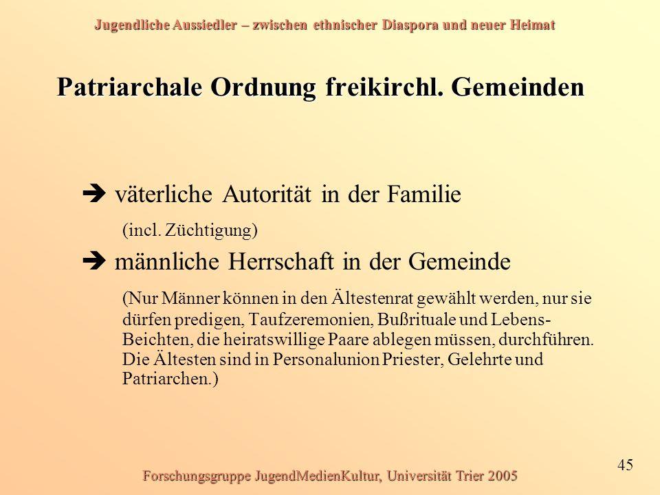 Jugendliche Aussiedler – zwischen ethnischer Diaspora und neuer Heimat 45 Forschungsgruppe JugendMedienKultur, Universität Trier 2005 Patriarchale Ordnung freikirchl.
