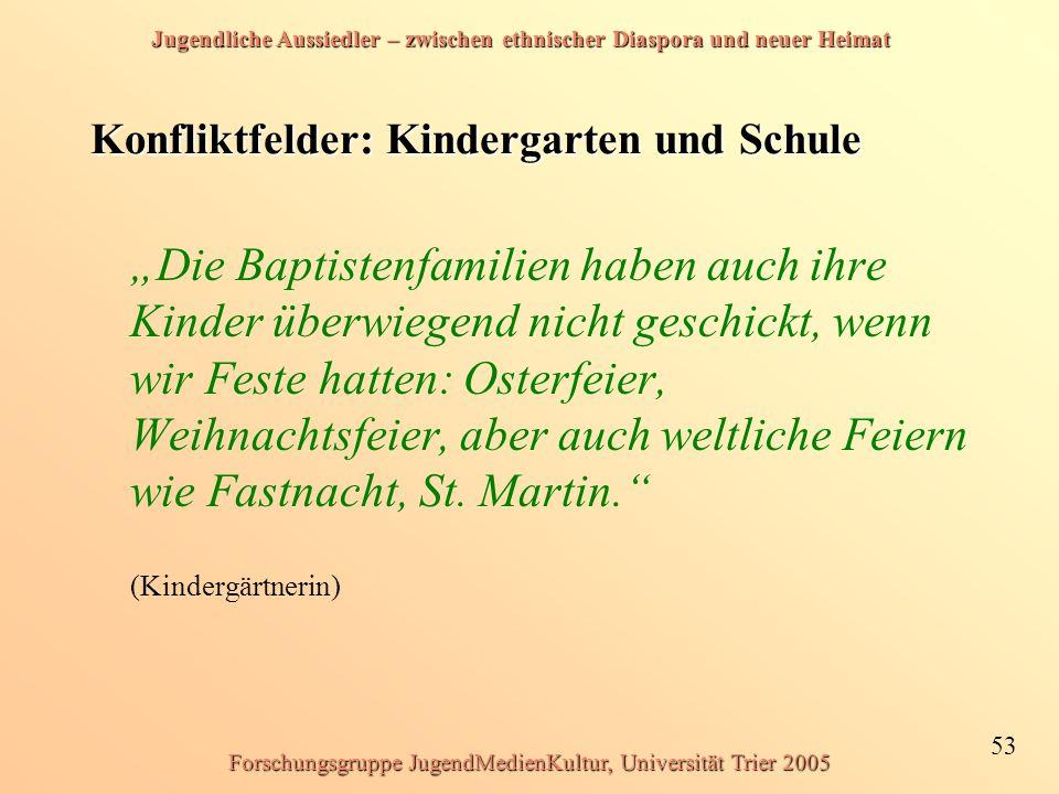 Jugendliche Aussiedler – zwischen ethnischer Diaspora und neuer Heimat 53 Forschungsgruppe JugendMedienKultur, Universität Trier 2005 Konfliktfelder: