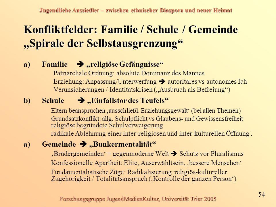 Jugendliche Aussiedler – zwischen ethnischer Diaspora und neuer Heimat 54 Forschungsgruppe JugendMedienKultur, Universität Trier 2005 Konfliktfelder: