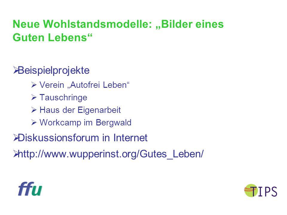 """Neue Wohlstandsmodelle: """"Bilder eines Guten Lebens""""  Beispielprojekte  Verein """"Autofrei Leben""""  Tauschringe  Haus der Eigenarbeit  Workcamp im Be"""