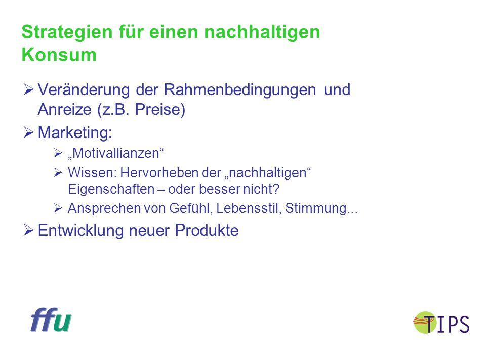 """Strategien für einen nachhaltigen Konsum  Veränderung der Rahmenbedingungen und Anreize (z.B. Preise)  Marketing:  """"Motivallianzen""""  Wissen: Hervo"""
