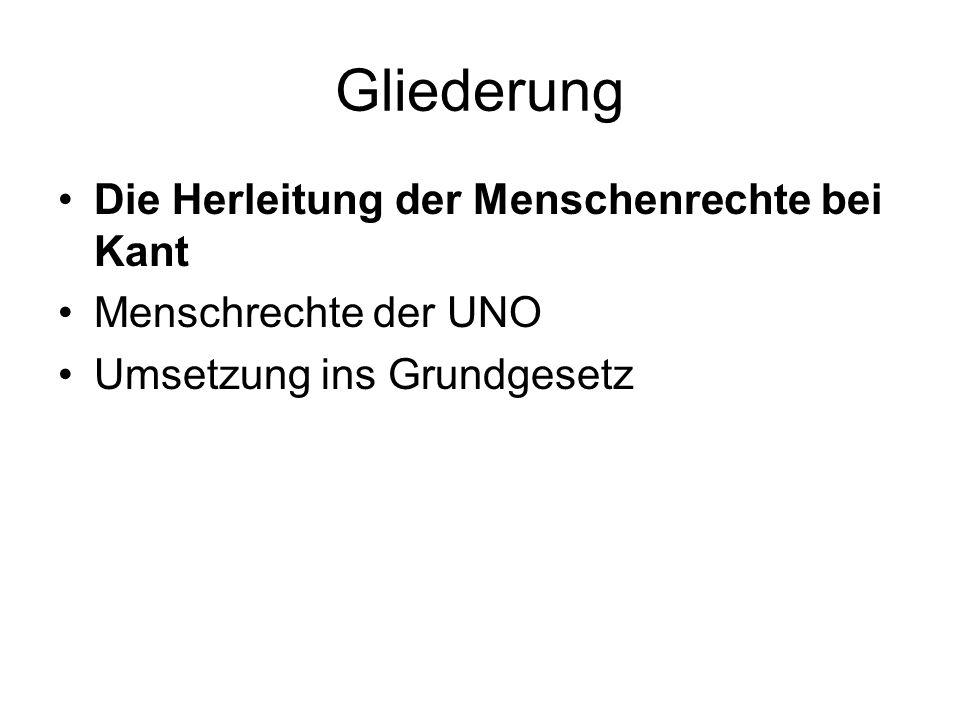 Gliederung Die Herleitung der Menschenrechte bei Kant Menschrechte der UNO Umsetzung ins Grundgesetz