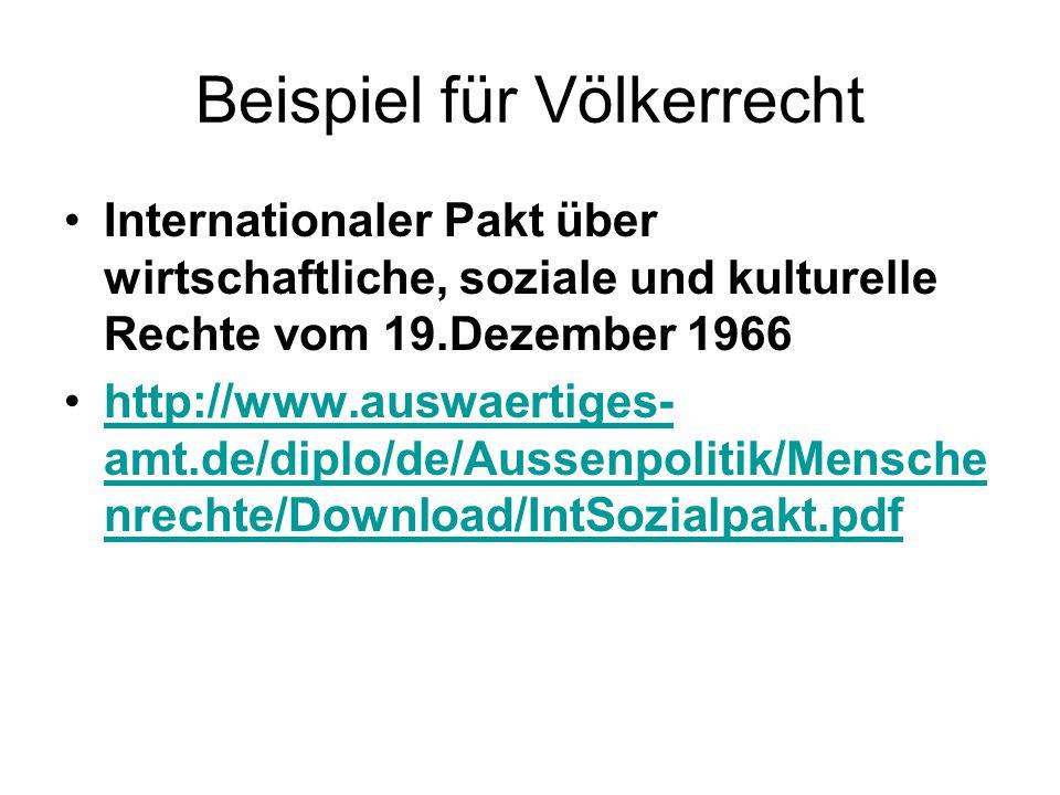 Beispiel für Völkerrecht Internationaler Pakt über wirtschaftliche, soziale und kulturelle Rechte vom 19.Dezember 1966 http://www.auswaertiges- amt.de