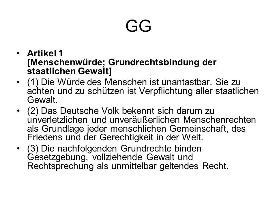 GG Artikel 1 [Menschenwürde; Grundrechtsbindung der staatlichen Gewalt] (1) Die Würde des Menschen ist unantastbar. Sie zu achten und zu schützen ist