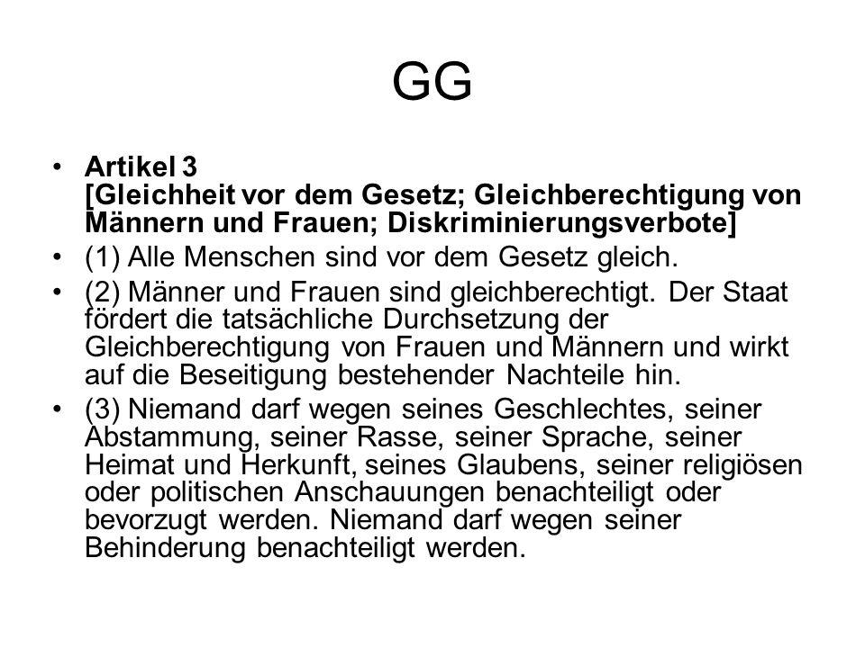 GG Artikel 3 [Gleichheit vor dem Gesetz; Gleichberechtigung von Männern und Frauen; Diskriminierungsverbote] (1) Alle Menschen sind vor dem Gesetz gle