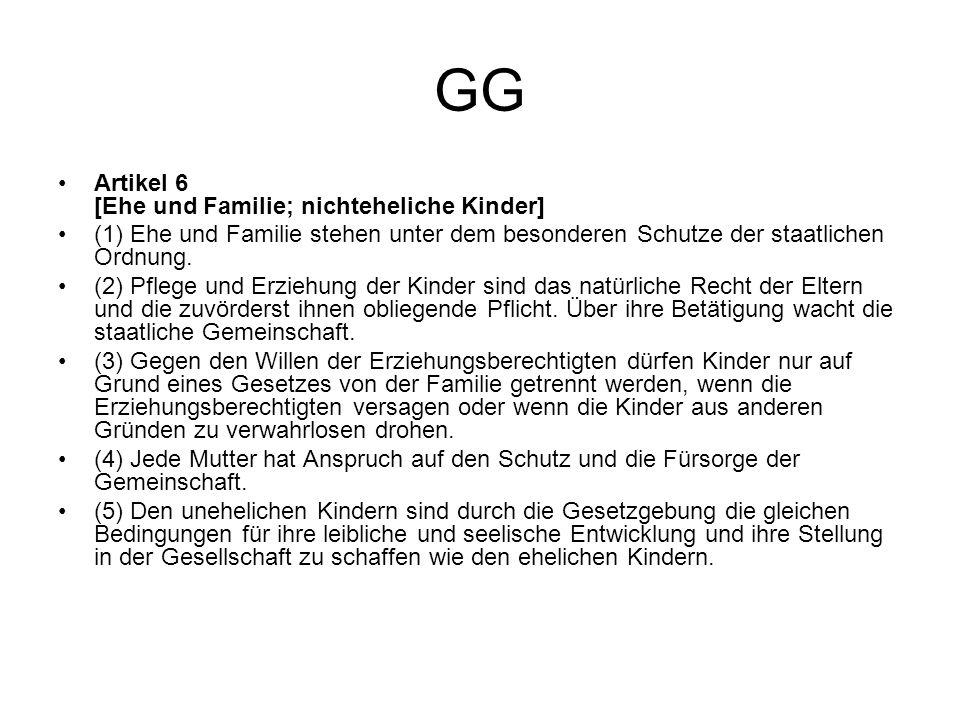 GG Artikel 6 [Ehe und Familie; nichteheliche Kinder] (1) Ehe und Familie stehen unter dem besonderen Schutze der staatlichen Ordnung. (2) Pflege und E