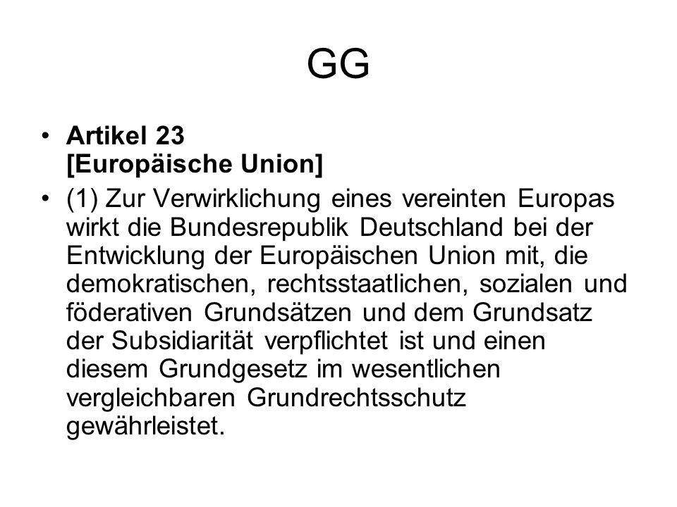 GG Artikel 23 [Europäische Union] (1) Zur Verwirklichung eines vereinten Europas wirkt die Bundesrepublik Deutschland bei der Entwicklung der Europäis