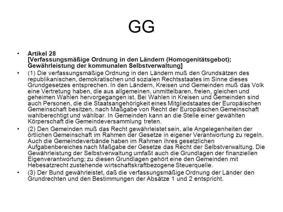 GG Artikel 28 [Verfassungsmäßige Ordnung in den Ländern (Homogenitätsgebot); Gewährleistung der kommunalen Selbstverwaltung] (1) Die verfassungsmäßige