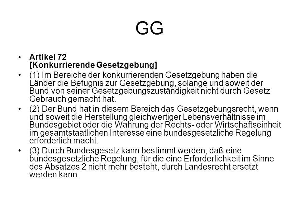 GG Artikel 72 [Konkurrierende Gesetzgebung] (1) Im Bereiche der konkurrierenden Gesetzgebung haben die Länder die Befugnis zur Gesetzgebung, solange u