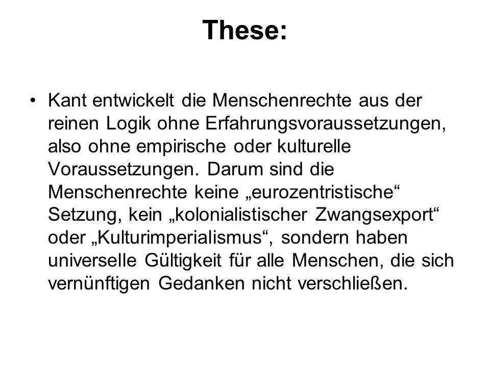 These: Kant entwickelt die Menschenrechte aus der reinen Logik ohne Erfahrungsvoraussetzungen, also ohne empirische oder kulturelle Voraussetzungen. D
