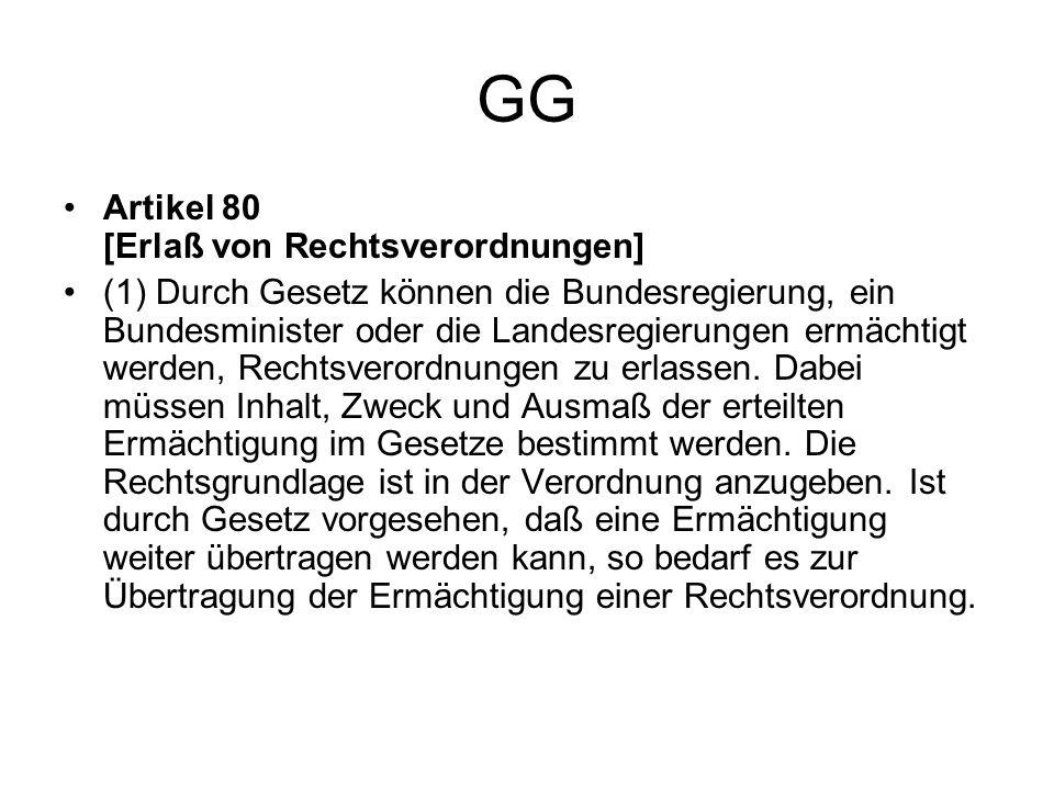 GG Artikel 80 [Erlaß von Rechtsverordnungen] (1) Durch Gesetz können die Bundesregierung, ein Bundesminister oder die Landesregierungen ermächtigt wer