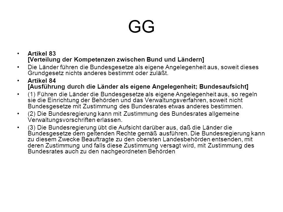 GG Artikel 83 [Verteilung der Kompetenzen zwischen Bund und Ländern] Die Länder führen die Bundesgesetze als eigene Angelegenheit aus, soweit dieses G