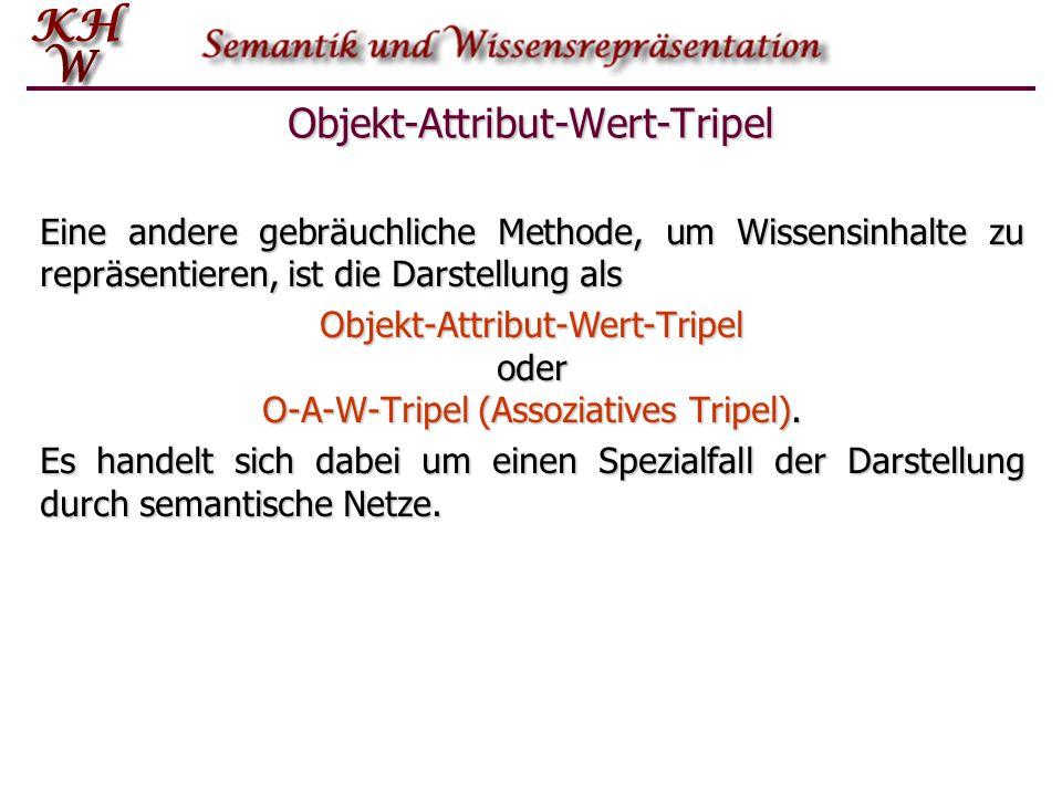 Objekt-Attribut-Wert-Tripel Eine andere gebräuchliche Methode, um Wissensinhalte zu repräsentieren, ist die Darstellung als Objekt-Attribut-Wert-Tripe