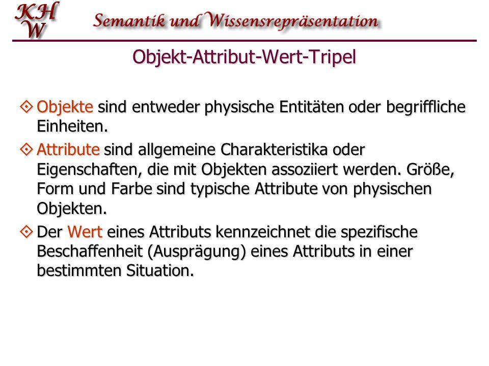 Objekt-Attribut-Wert-Tripel  Objekte sind entweder physische Entitäten oder begriffliche Einheiten.  Attribute sind allgemeine Charakteristika oder