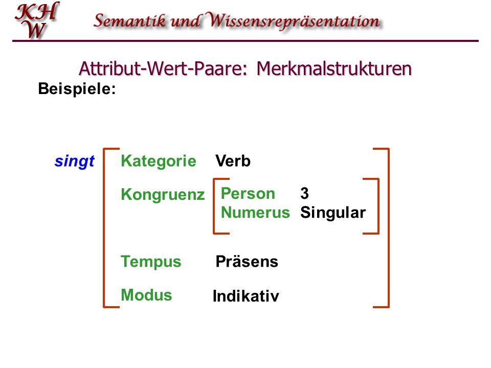 Attribut-Wert-Paare: Merkmalstrukturen singtKategorieVerb TempusPräsens Beispiele: Kongruenz Person3 NumerusSingular Modus Indikativ
