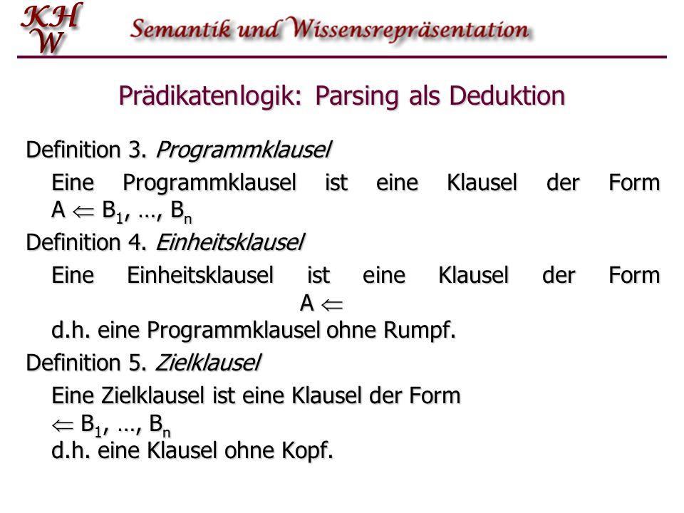 Prädikatenlogik: Parsing als Deduktion Definition 3. Programmklausel Eine Programmklausel ist eine Klausel der Form A  B 1, …, B n Definition 4. Einh