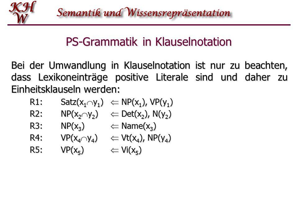 PS-Grammatik in Klauselnotation Bei der Umwandlung in Klauselnotation ist nur zu beachten, dass Lexikoneinträge positive Literale sind und daher zu Ei