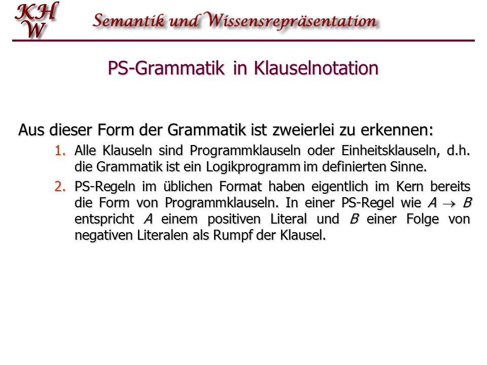 PS-Grammatik in Klauselnotation Aus dieser Form der Grammatik ist zweierlei zu erkennen: 1.Alle Klauseln sind Programmklauseln oder Einheitsklauseln,
