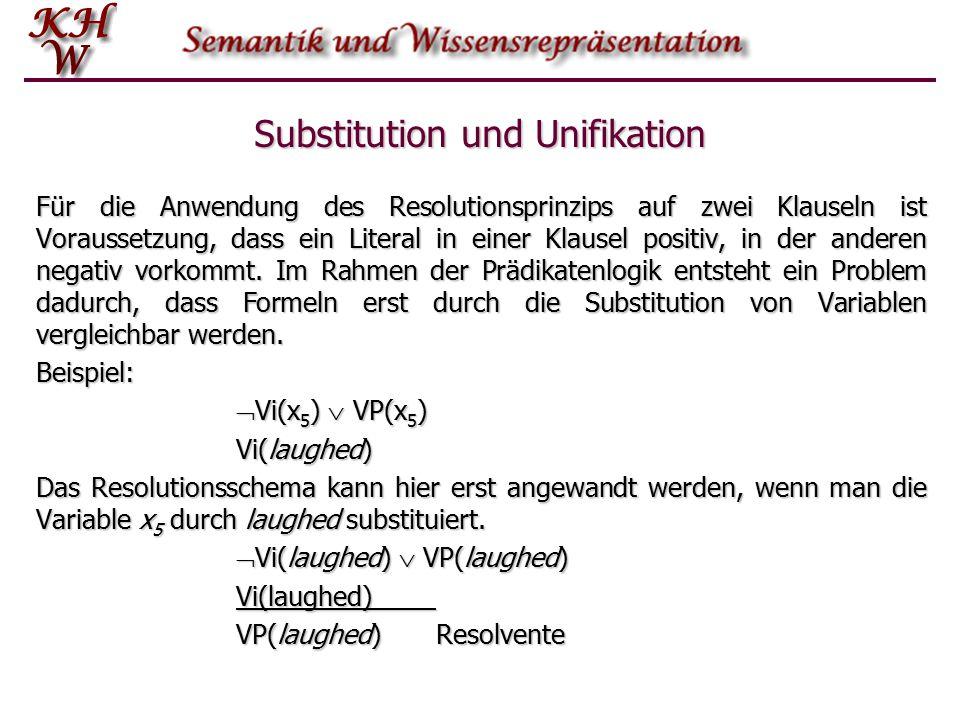 Substitution und Unifikation Für die Anwendung des Resolutionsprinzips auf zwei Klauseln ist Voraussetzung, dass ein Literal in einer Klausel positiv,
