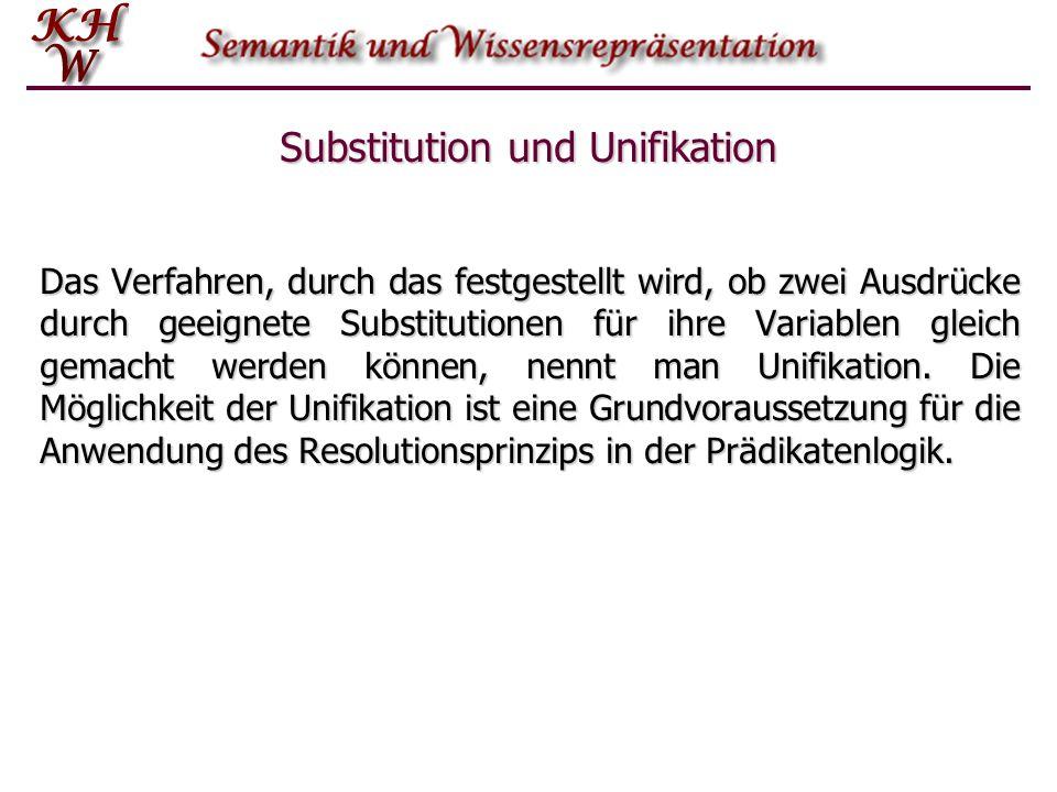 Substitution und Unifikation Das Verfahren, durch das festgestellt wird, ob zwei Ausdrücke durch geeignete Substitutionen für ihre Variablen gleich ge