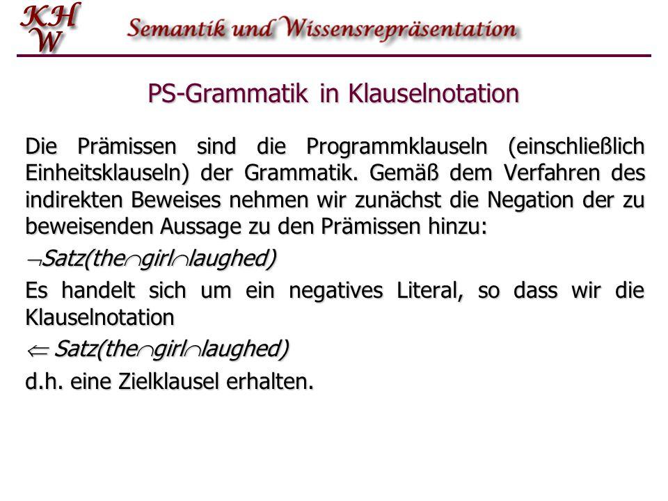 PS-Grammatik in Klauselnotation Die Prämissen sind die Programmklauseln (einschließlich Einheitsklauseln) der Grammatik. Gemäß dem Verfahren des indir