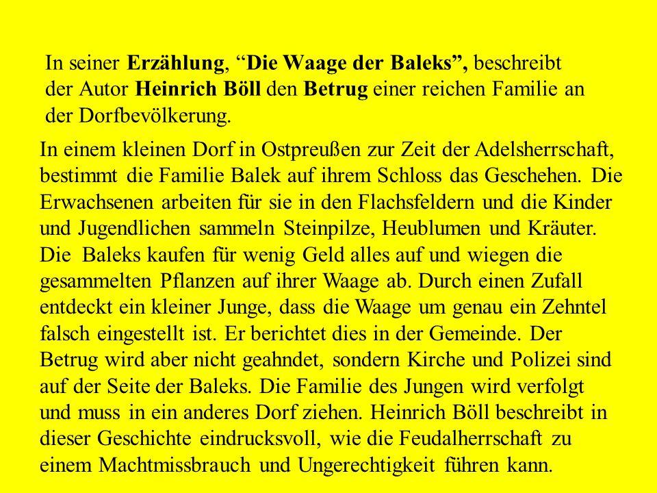 Inhaltsangabe Die Waage der Baleks Heinrich Böll
