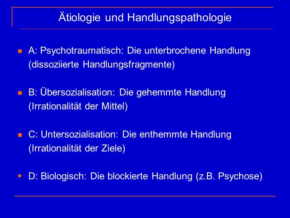 Ätiologie und Handlungspathologie A: Psychotraumatisch: Die unterbrochene Handlung (dissoziierte Handlungsfragmente) B: Übersozialisation: Die gehemmt
