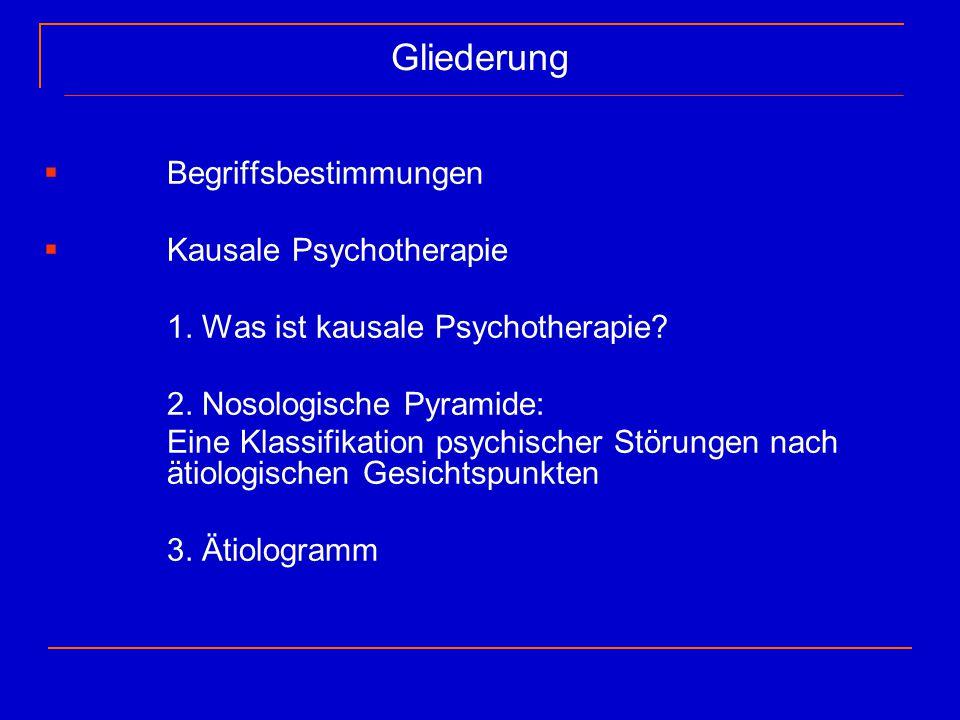 Gliederung  Begriffsbestimmungen  Kausale Psychotherapie 1. Was ist kausale Psychotherapie? 2. Nosologische Pyramide: Eine Klassifikation psychische