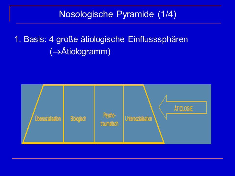 Nosologische Pyramide (1/4) 1. Basis: 4 große ätiologische Einflusssphären (  Ätiologramm)