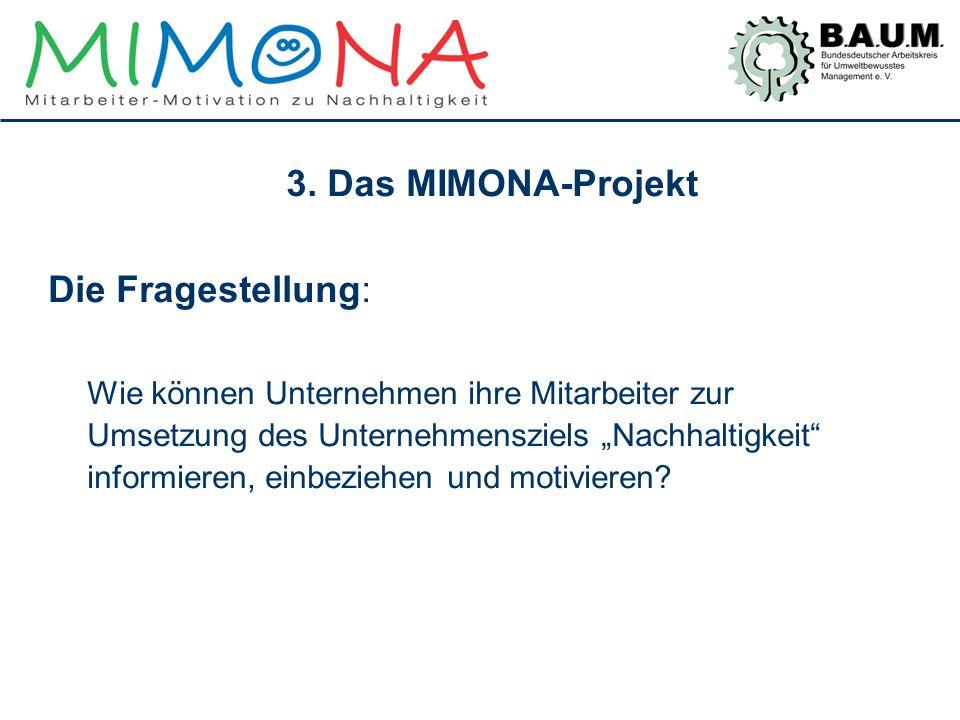 """3. Das MIMONA-Projekt Die Fragestellung: Wie können Unternehmen ihre Mitarbeiter zur Umsetzung des Unternehmensziels """"Nachhaltigkeit"""" informieren, ein"""
