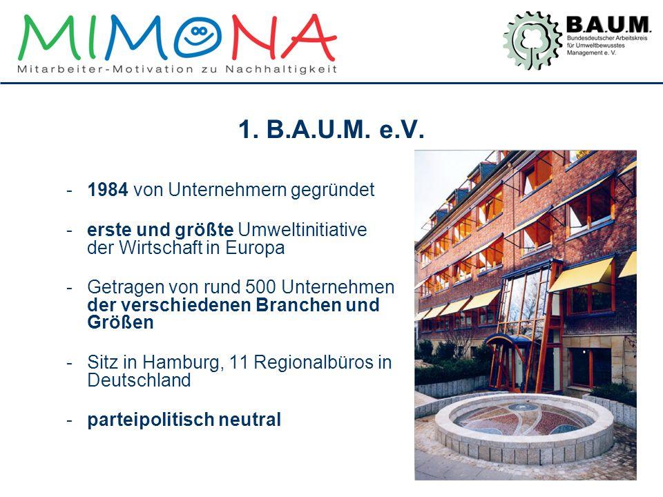 1. B.A.U.M. e.V. -1984 von Unternehmern gegründet -erste und größte Umweltinitiative der Wirtschaft in Europa -Getragen von rund 500 Unternehmen der v