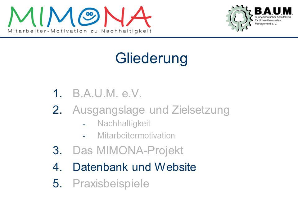 Gliederung 1.B.A.U.M. e.V. 2.Ausgangslage und Zielsetzung -Nachhaltigkeit -Mitarbeitermotivation 3.Das MIMONA-Projekt 4.Datenbank und Website 5.Praxis