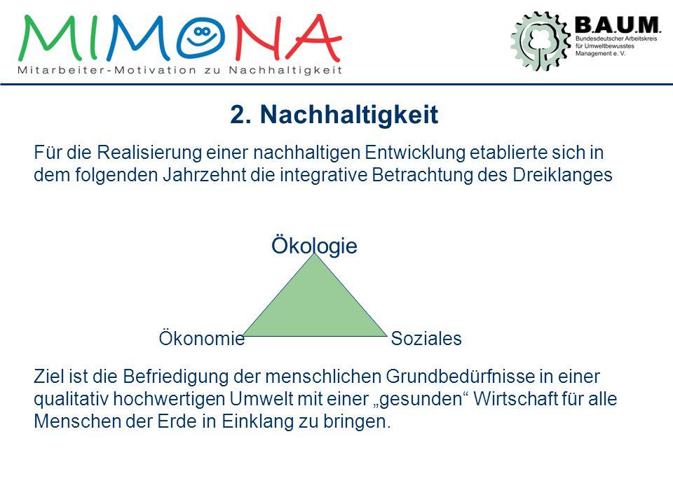 2. Nachhaltigkeit Für die Realisierung einer nachhaltigen Entwicklung etablierte sich in dem folgenden Jahrzehnt die integrative Betrachtung des Dreik