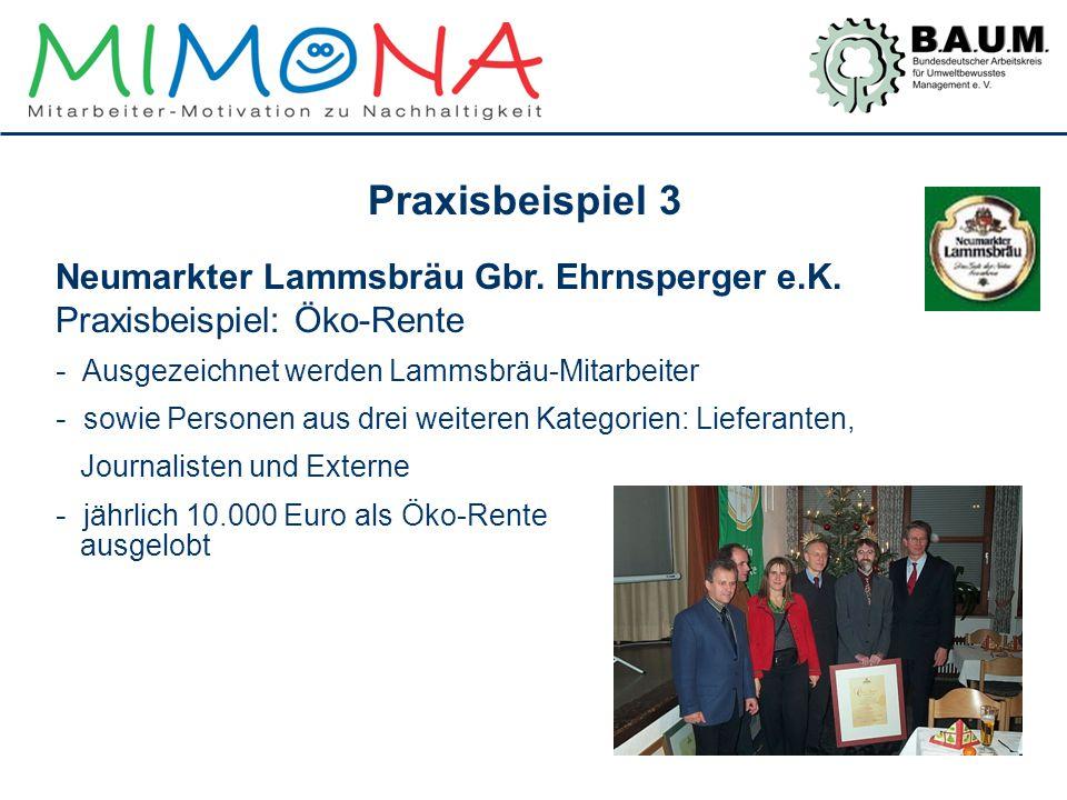 Praxisbeispiel 3 Neumarkter Lammsbräu Gbr. Ehrnsperger e.K. Praxisbeispiel: Öko-Rente - Ausgezeichnet werden Lammsbräu-Mitarbeiter - sowie Personen au