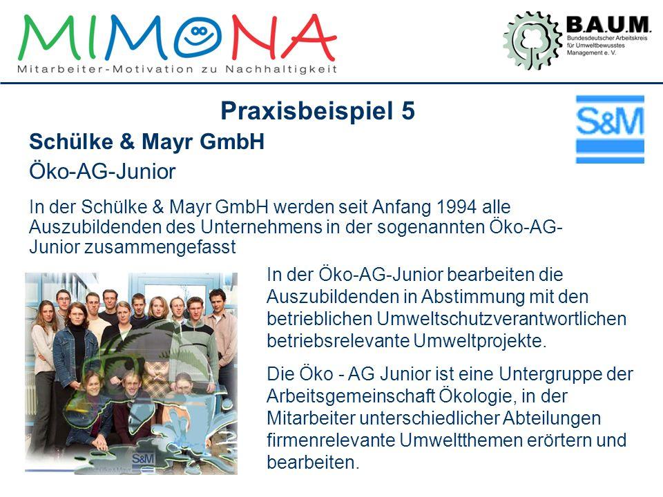 Praxisbeispiel 5 Schülke & Mayr GmbH Öko-AG-Junior In der Schülke & Mayr GmbH werden seit Anfang 1994 alle Auszubildenden des Unternehmens in der soge