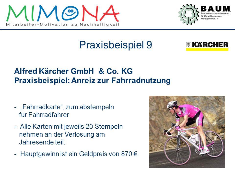"""Alfred Kärcher GmbH & Co. KG Praxisbeispiel: Anreiz zur Fahrradnutzung - """"Fahrradkarte"""", zum abstempeln für Fahrradfahrer - Alle Karten mit jeweils 20"""