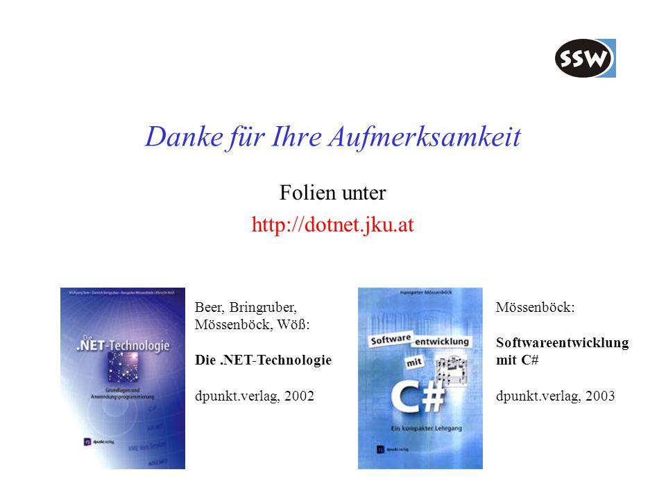 Danke für Ihre Aufmerksamkeit Folien unter http://dotnet.jku.at Beer, Bringruber, Mössenböck, Wöß: Die.NET-Technologie dpunkt.verlag, 2002 Mössenböck: