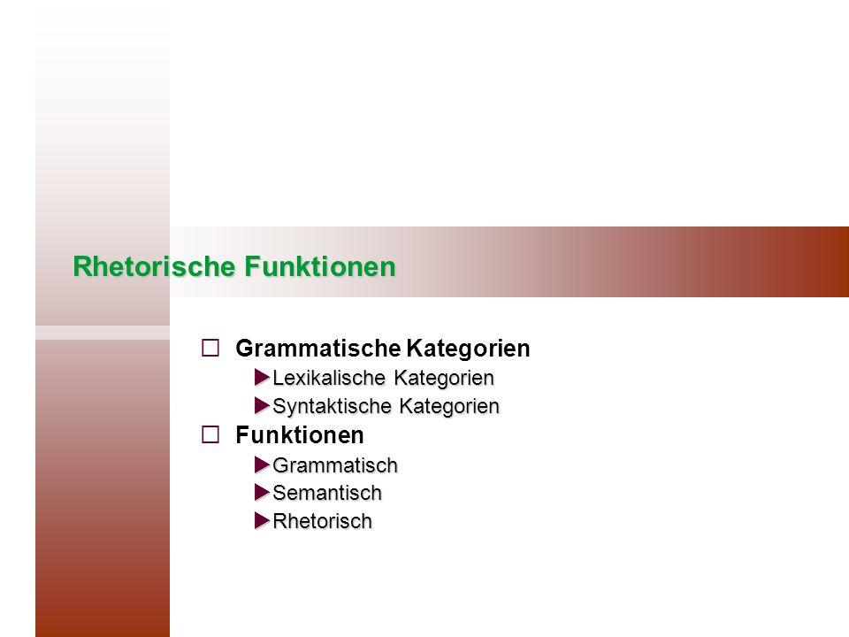 Rhetorische Funktionen   Grammatische Kategorien  Lexikalische Kategorien  Syntaktische Kategorien   Funktionen  Grammatisch  Semantisch  Rhetorisch