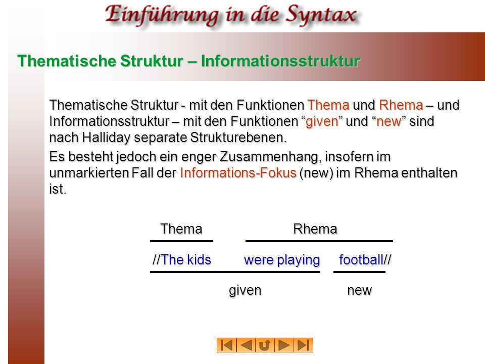 Thematische Struktur – Informationsstruktur Thematische Struktur ‑ mit den Funktionen Thema und Rhema – und Informationsstruktur – mit den Funktionen given und new sind nach Halliday separate Strukturebenen.