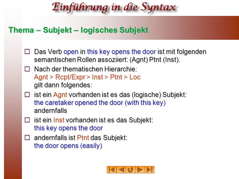 Thema – Subjekt – logisches Subjekt  Das Verb open in this key opens the door ist mit folgenden semantischen Rollen assoziiert: (Agnt) Ptnt (Inst). 